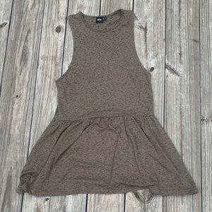 ASOS Brown/ Olive Green Sleeveless Skater Dress